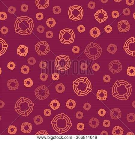 Brown Line Lifebuoy Icon Isolated Seamless Pattern On Red Background. Life Saving Floating Lifebuoy