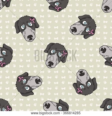 Hand Drawn Cute Greyhound Puppy Face With Pink Bow Seamless Vector Pattern. Purebred Pedigree Fast D