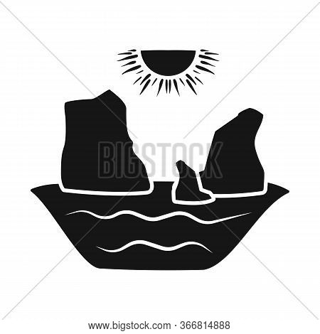 Isolated Object Of Rock And Bay Logo. Set Of Rock And Vietnamese Vector Icon For Stock.