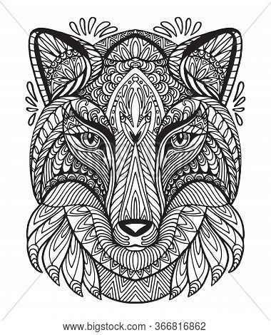 Vector Decorative Doodle Ornamental Head Of Wolf. Abstract Vector Illustration Of Wolf Black Contour