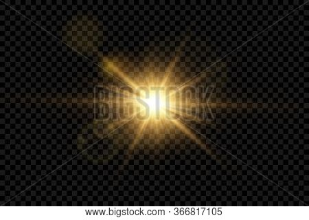 Vector Transparent Sunlight Special Lens Flash Light Effect.front Sun Lens Flash. Vector Blur In The