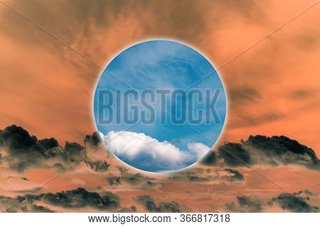 Aesthetic Modern Art Collage With Clouds Blue Sky In Style Of The 80-90s. Real Natural Sky Compositi