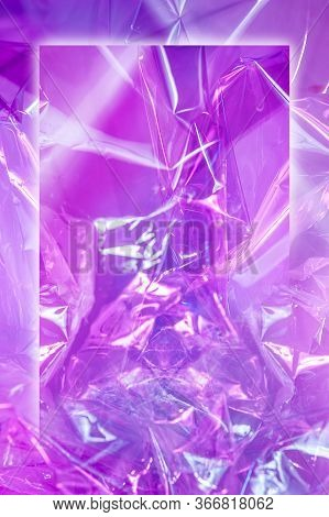 Abstract Trendy Holographic Background In Style Of The 80-90s. Real Texture Of Crumpled Cellophane F
