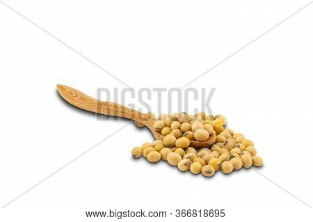 Soy Beans In Wooden Spoon On White Background With Clipping Path. Soy Bean Is Important Bean That Pr
