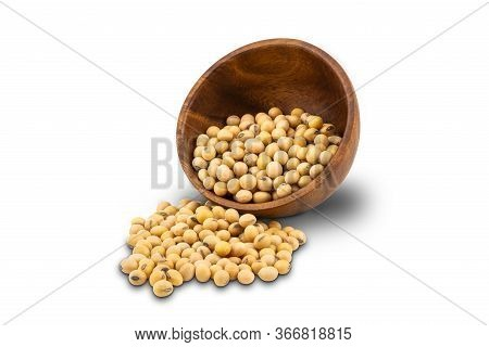 Soy Beans Or Soybeans In Wooden Bowl On White Background With Clipping Path.
