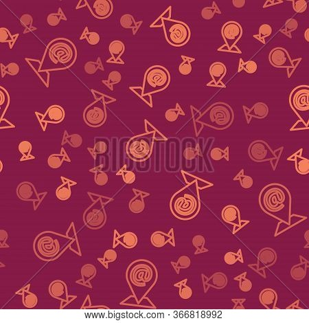 Brown Line Location And Mail And E-mail Icon Isolated Seamless Pattern On Red Background. Envelope S
