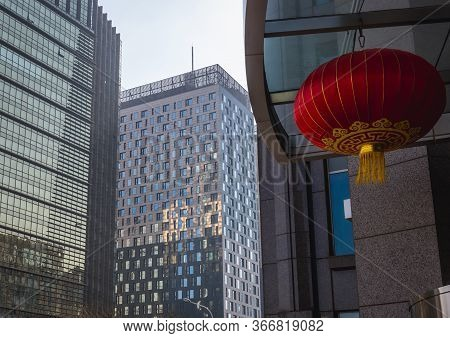 Beijing, China - February 11, 2019: Red Decorative Lantern On The Office Block In Chaoyang Area Of B