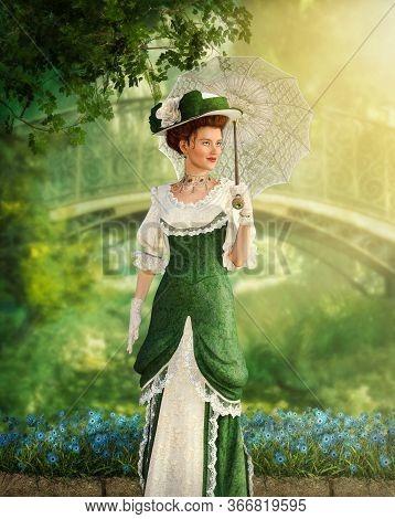 Portrait Of An Elegant Jane Austen Style Woman Strolling The In A Park On A Summer Day, Regency Dres