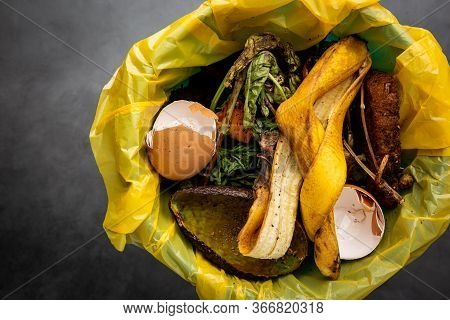 Organic Food Wastes In A Bucket, Shot From Above. Zero Waste, Recycle, Waste Sorting Concept - Top V