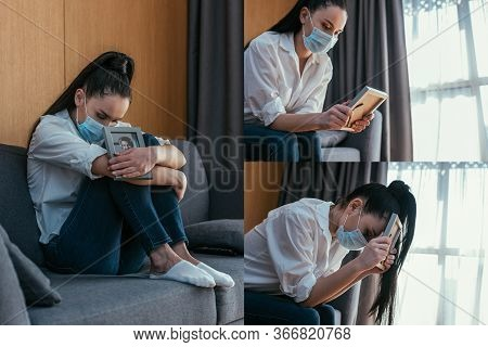 Collage Of Depressed Woman In Medical Mask Grieving While Holding Photo Frame Of Boyfriend