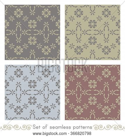 Set Of Seamless Patterns With Little Hearts. Color Light Blue, Light Green, Grey And Burgundy Red .