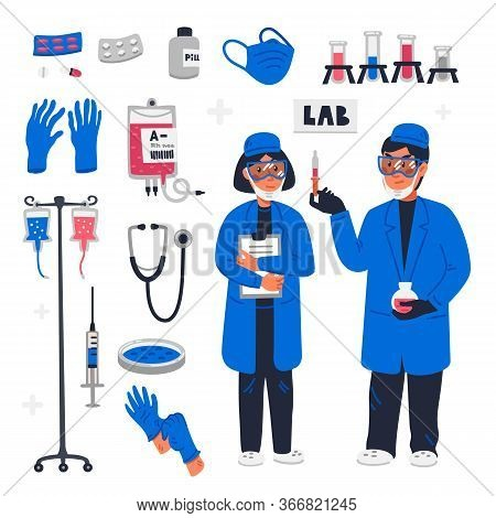 Scientists In Lab. Healthcare Researchers Working In Science Laboratory. Female And Male Scientists