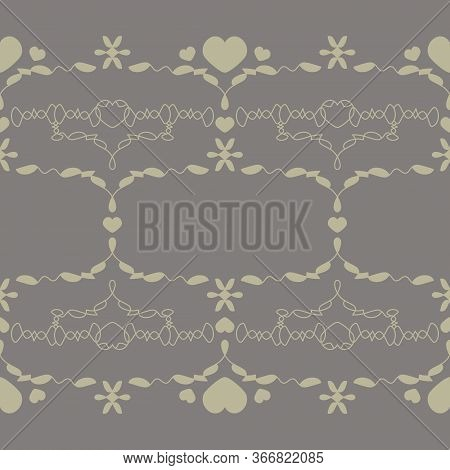 Seamless Pattern With Little Hearts. Color Grey And Light Green . Vector.