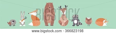 Cute Animals In Simple Nordic Style. Woodland Characters With Kind Faces For Baby Shower Design. Fla
