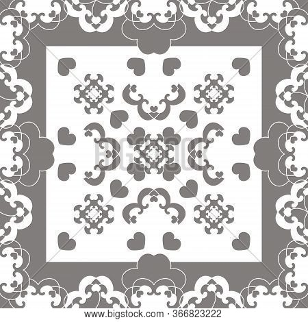 Seamless Pattern. Fancy Frame With Hearts. White And Grey . Vector