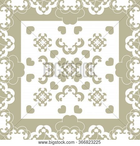 Seamless Pattern. Fancy Frame With Hearts. Light Green And White . Vector.