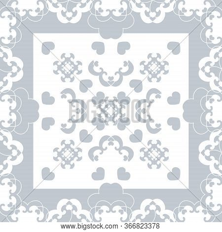 Seamless Pattern. Fancy Frame With Hearts. Light Blue, And White . Vector
