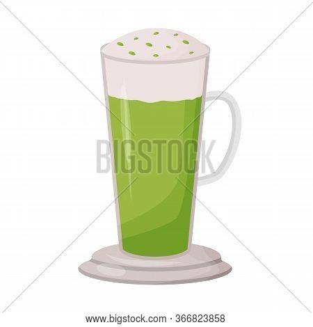 Matcha Latte Cartoon Vector Illustration. Herbal Drink In Tall Glass Mug Flat Color Object. Mint Bev
