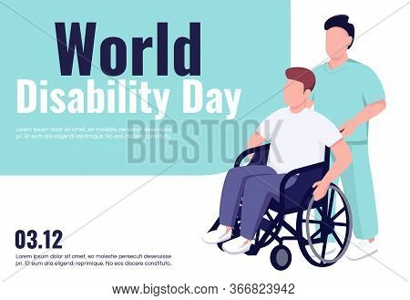 World Disability Day Banner Flat Vector Template. Brochure, Poster Concept Design With Cartoon Chara