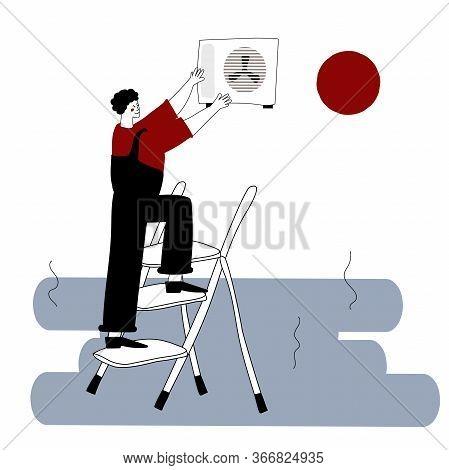 An Installer Or Repairman Of Air Conditioners. A Joyful Repairman On A Stepladder. Vector Illustrati