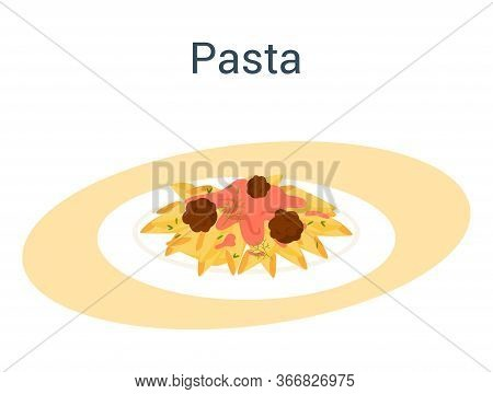 Spaghetti Or Pasta. Italian Food On The Plate. Delicious Dinner