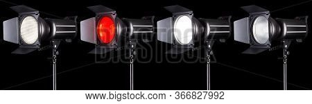 Set Of Studio Flash Lights Isolated On Black Background With Lamp.