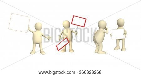 Advertising concept. Set of puppets with information board. 3d man holding white blank poster. Copy space for text. Mock up template. Isolated on white background. 3d render