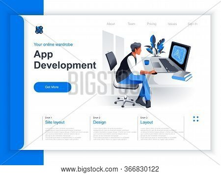 App Development Isometric Landing Page. Programmer Working With Computer In Office Situation. Ui, Ux