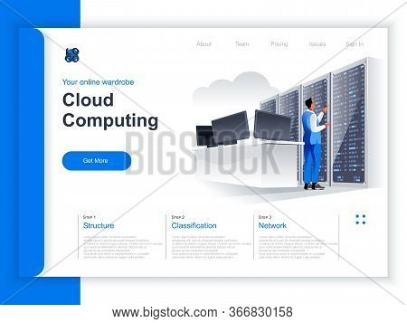 Cloud Computing Isometric Landing Page. It Specialist Near Server Rack At Data Center Situation. Hos