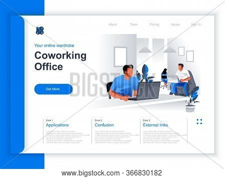 Coworking Office Isometric Landing Page. People Working With Computers In Coworking Open Space Area