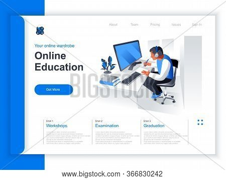 Online Education Isometric Landing Page. Young Man Studying With Computer At Workplace Situation. Di