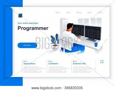 Software Development Isometric Landing Page. Programmer Working With Computer In Office Situation. W