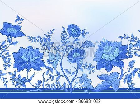 Seamless Pattern With Stylized Ornamental Flowers In Retro, Vintage Style. Jacobin Embroidery. Vecto