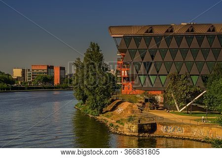 Frankfurt,germany - May 16,2020:westhafen This Is The Great View From The Bridge Of Peace To The Riv