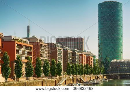 Frankfurt,germany - May 16,2020:westhafen This Is The Modern Business Building Westhafen Tower,with