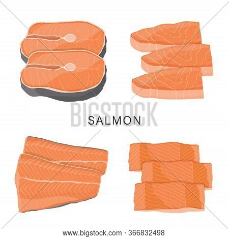 Set Of Salmon, Raw Fish Slice And Meat Steaks Isolated On A White Background. Cartoon Vector Illustr