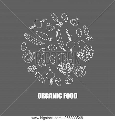 Vector Vegetables Logo. Round Background. Hand Draw Cartoon Sketch. Broccoli, Carrots, Cucumber, Pot