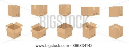 Set Of Carton Delivery Packaging Open And Closed Box With Fragile Signs On A White Background With N