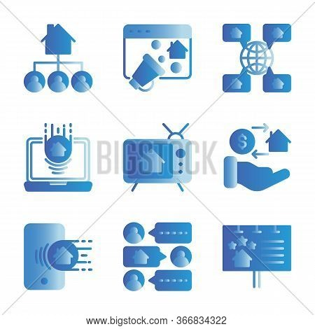 Marketing Real Estate Icon Set Include Infestation,strategy,globe,laptop,hand,message,billboard
