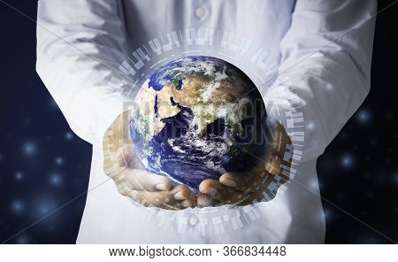 Businessman Hand Holding Multinational Hologram Globe Concept For World Map Responsibility, Cloud In