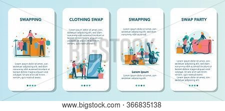 Swap Party Or Flea Market Mobile Application Banner Set. Clothes