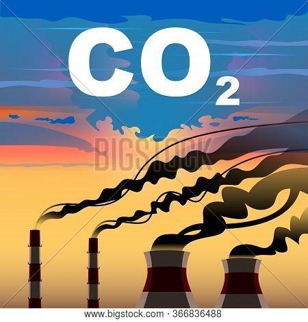 Factory Or Power Plant Emitting Smoke. Smoking Factory Concept