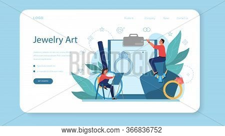 Jeweler And Jewelry Web Banner Or Landing Page. Idea Of Creative
