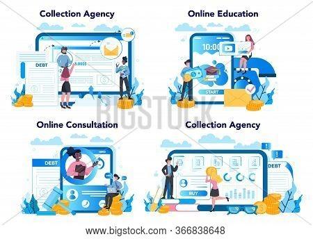 Debt Collector Online Service Or Platform Set. Pursuing Payment Of Debt