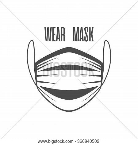 Medical Or Surgical Face Mask In Flat Style. Protective Medicine Face Mask Isolated On White Backgro