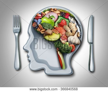 Brain Diet And Food Psychology Or Nutritional Psychiatry As Healthy Food Shaped As A Thinking Organ