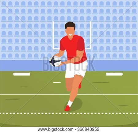 A Rugby Player Runs With The Ball Across The Field. The Match Has Begun. Player In Red Uniform Team