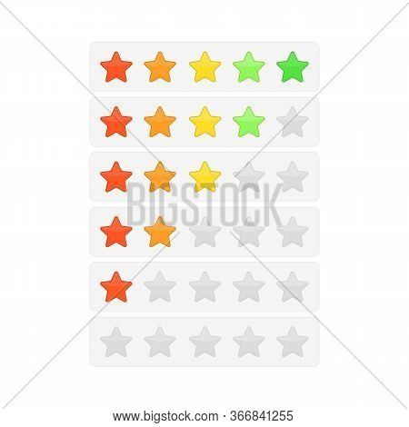 Five Stars Ratings Template. Rating System In Flat Style, Isolated On White Background. Customer Pro