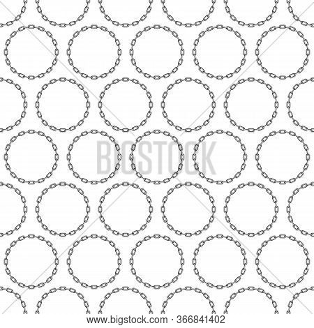 Black Round Chain Seamless Background. Iron Chain Pattern. Chains Links Texture. Geometric Backdrop.