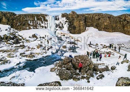 Thingvellir , Iceland- Feb 22, 2020:  Oxararfoss waterfall in Thingvellir National Park, Iceland. Oxararfoss waterfall is the famous tourist attracting in route of Iceland Golden ring